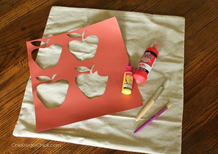 Apple Stencil pillow-supplies-OneKriegerChick.com