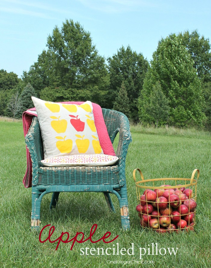 Apple-stenciled pillow-OneKriegerChick.com
