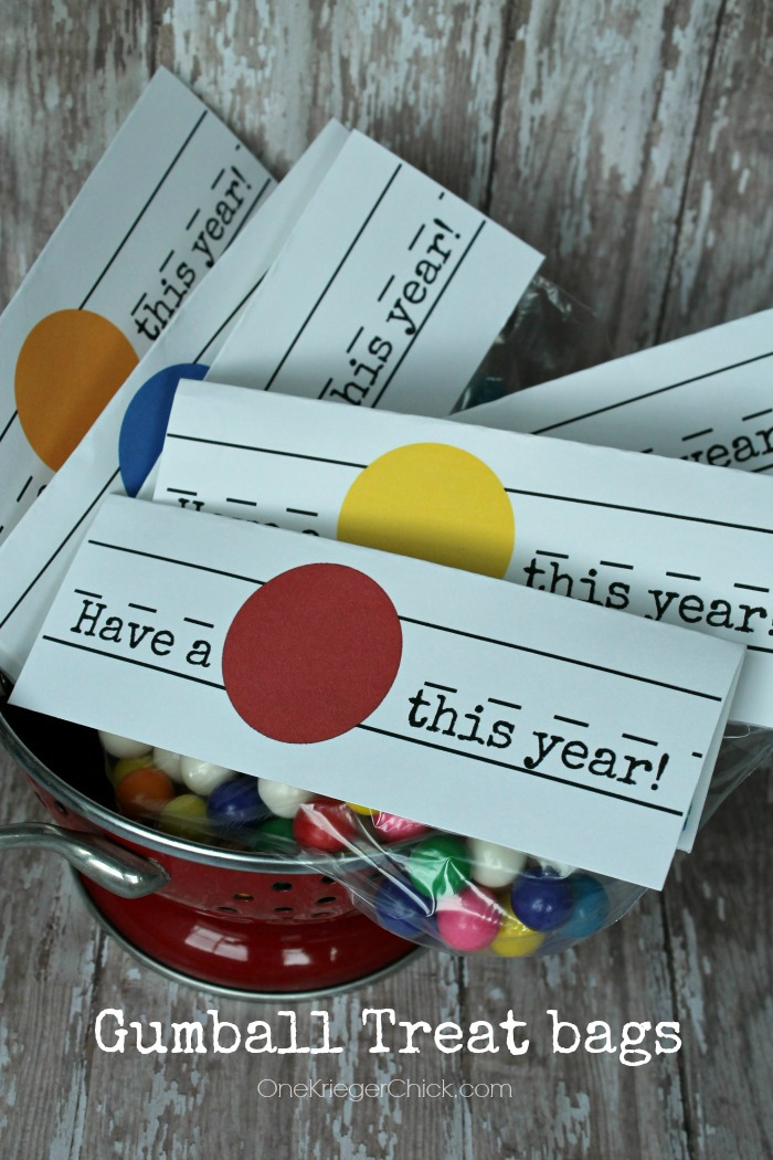 Have a Ball this Year! Treat bag with printable tag-OneKriegerChick.com