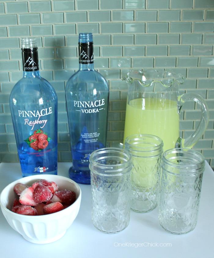 Ingredients for Adult version of a Lemon Berry Slush-make ahead! OneKriegerChick.com