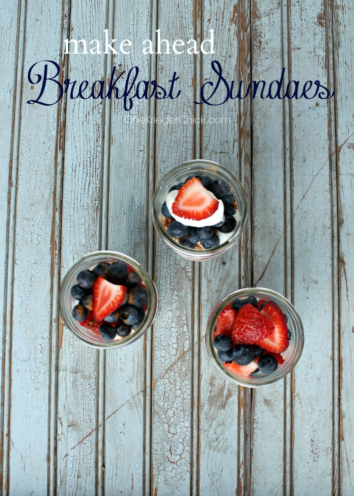 Prepare ahead of time and enjoy Sundaes for Breakfast the next morning! OneKriegerChick.com