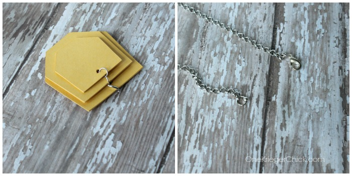 hexagon necklace-putting it together-OneKriegerChick.com CricutExplore #DesignSpaceStar