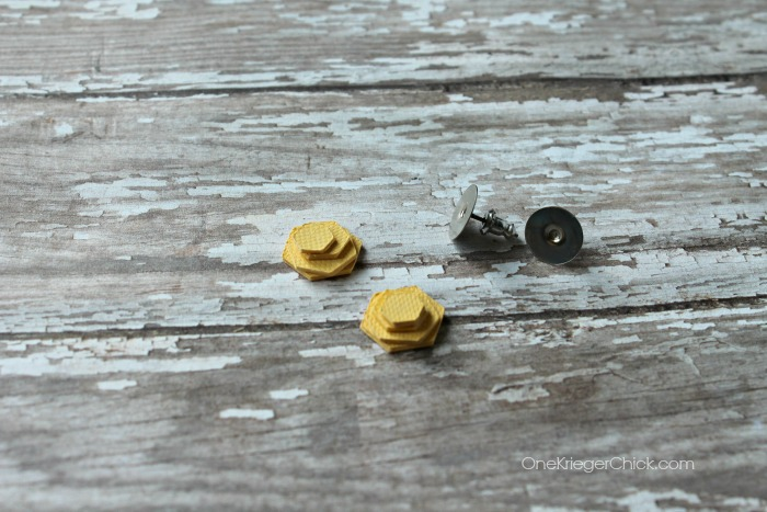 mini hexagon earrings-adding a back-OneKriegerChick.com CricutExplore #DesignSpaceStar