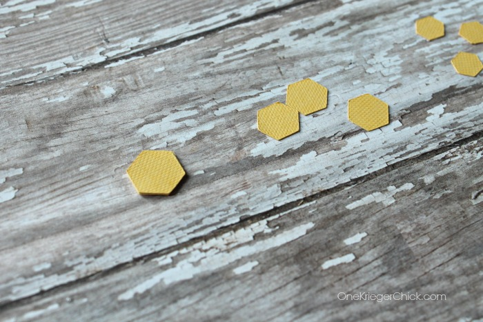 mini hexagon earrings- adhering pieces OneKriegerChick.com CricutExplore #DesignSpaceStar