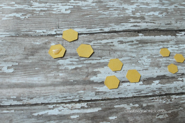 mini hexagon earrings- adhering together OneKriegerChick.com CricutExplore #DesignSpaceStar
