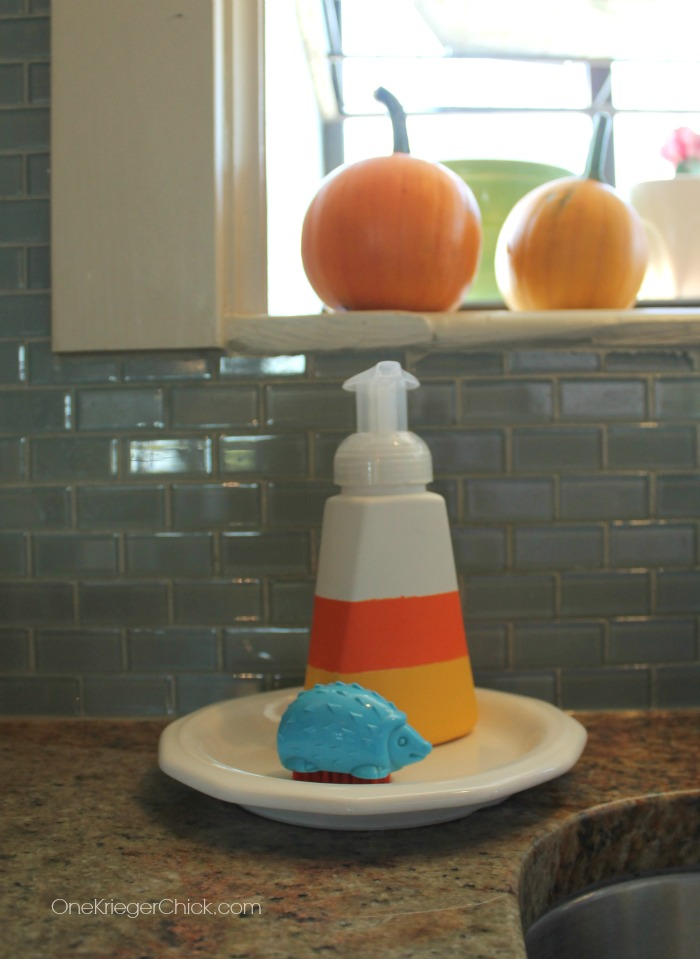 Candy Corn Soap Dispenser-perfect for Fall! OneKriegerChick.com