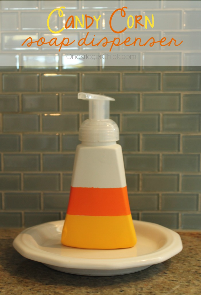 Candy Corn painted soap dispenser-OneKriegerChick.com