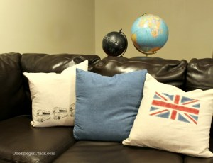 Easy stenciled pillows using creme stencil paint at OneKriegerChick.com
