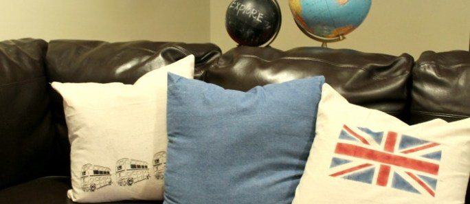 New Family Room pillows- with stencil creme