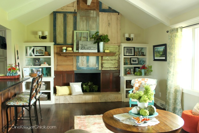 How Awesome is that wall of old doors!  Such a fun Country home! OneKriegerChick.com