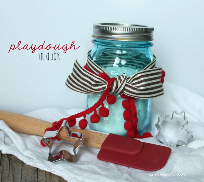 Playdough mix in a jar- perfect gift for kids to give! OneKriegerChick.com