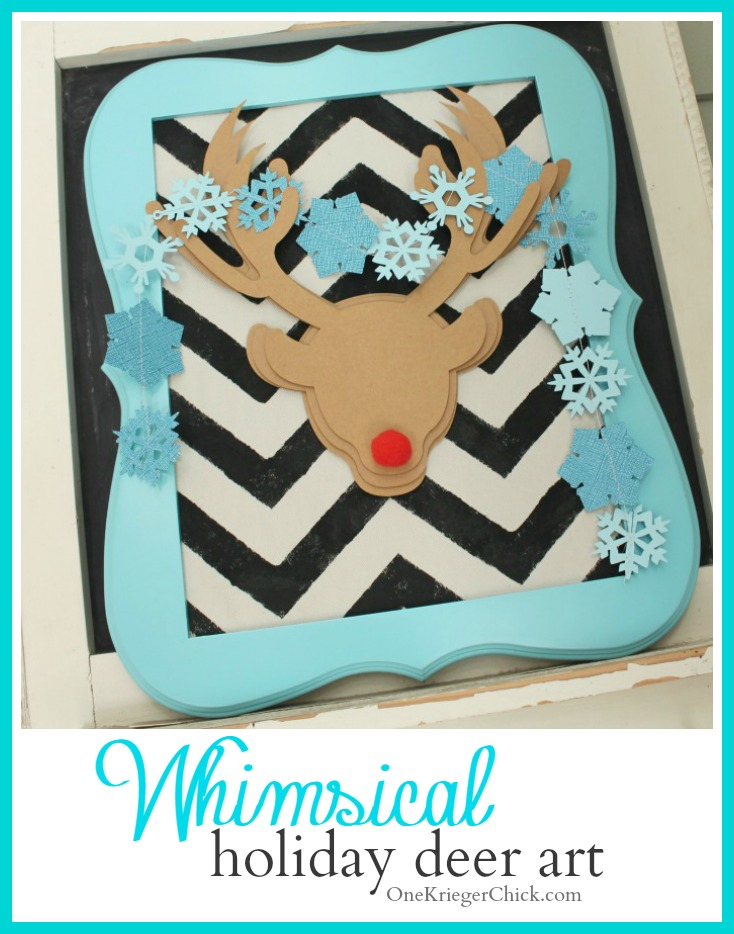 Whimsical Holiday Deer Art created with the Cricut Explore - OneKriegerChick.com #CDSSTeam10