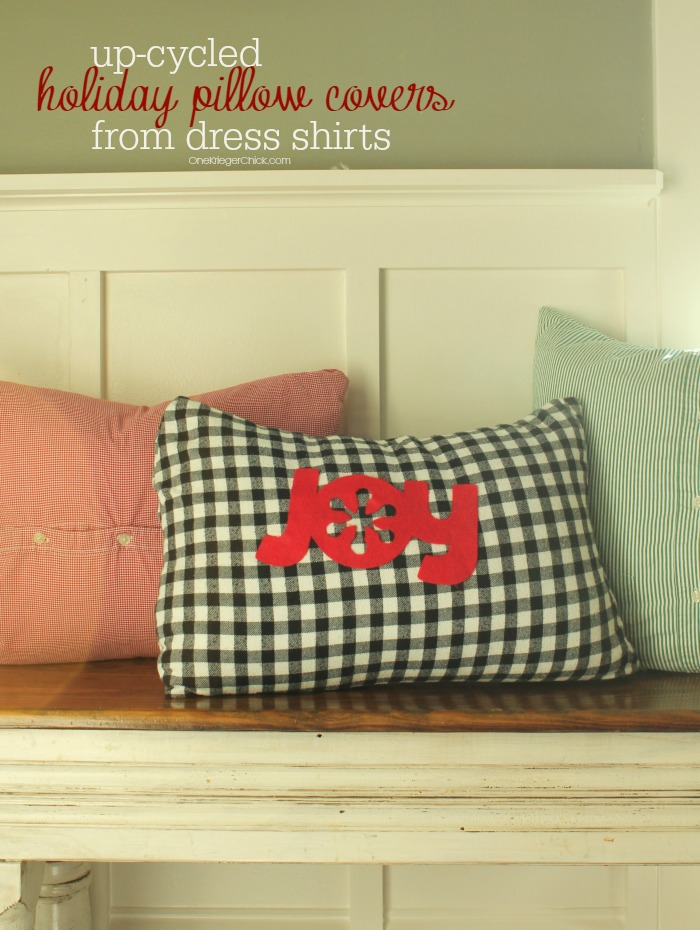 Create darling {and inexpensive} pillow covers from dress shirts! OneKriegerChick.com