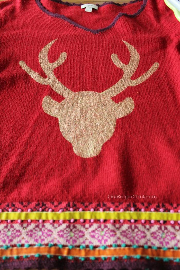 Deer silhouette- OneKriegerChick.com #uglysweaterchallenge