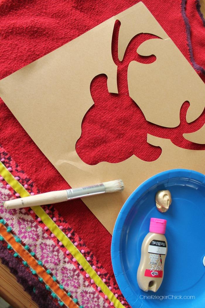 Deer stencil- #uglysweaterchallenge
