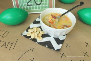 Potato Soup in a crockpot- Perfect game day food! OneKriegerChick.com