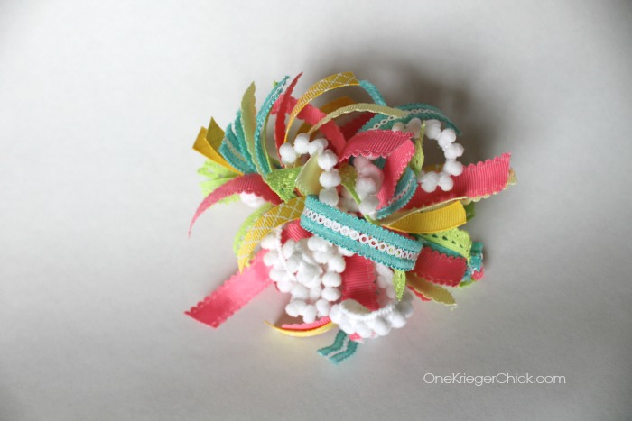 How to make a pompom out of ribbon! SO darling! OneKriegerChick.com