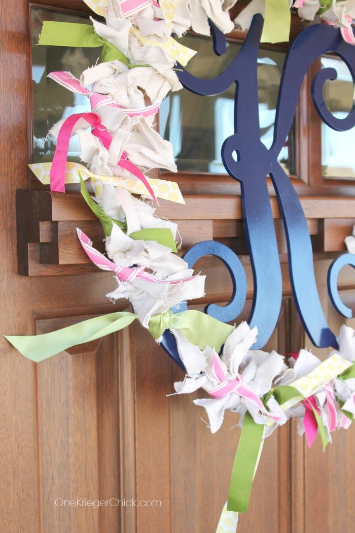 Spring Scrappy Monogram Wreath- OneKriegerChick.com