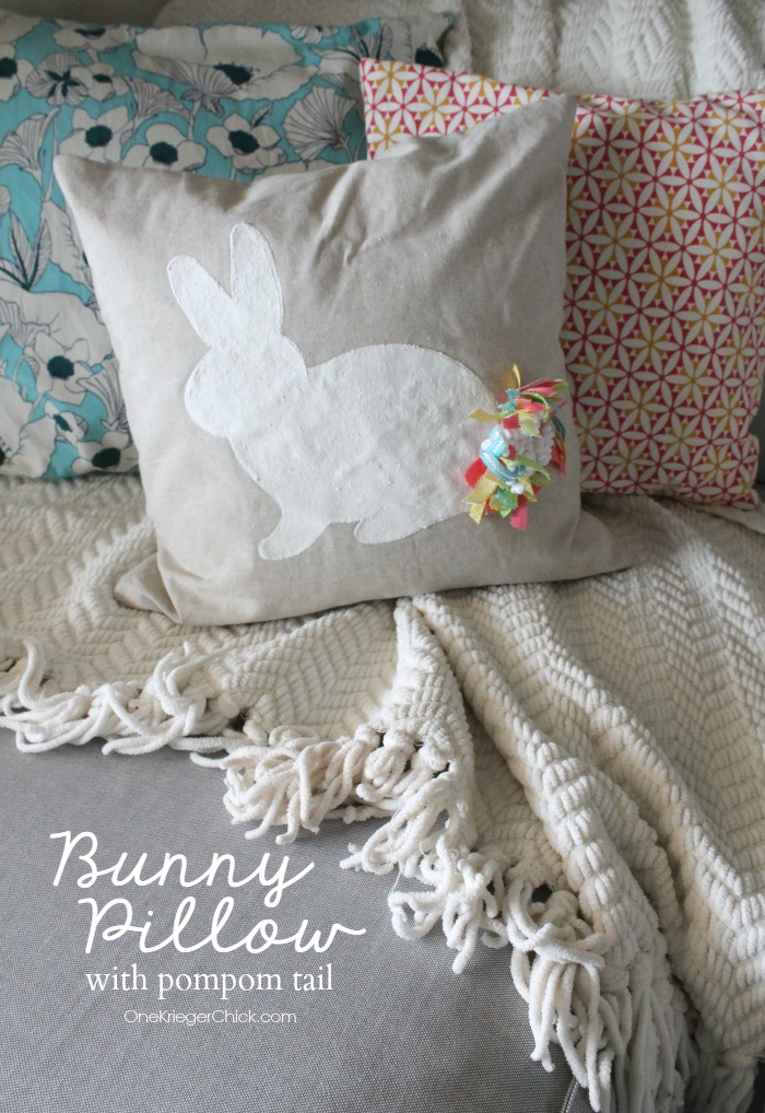 Sweet Bunny Pillow with pompom tail made from ribbon! So cute for Easter and Spring! OneKriegerChick.com