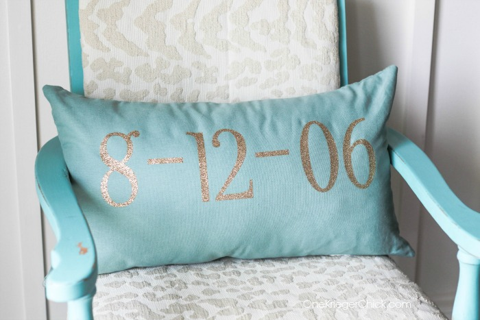Personalized Wedding Date Pillow- in 15 minutes- OneKriegerChick.com
