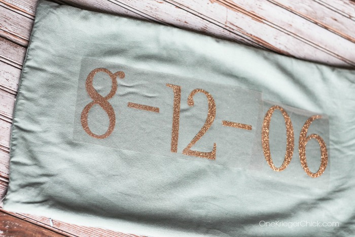 Personalized Wedding Date Pillow- vinyl on pillow- OneKriegerChick.com