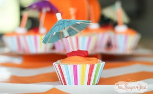 Beachy Orange Creamsicle Cupcakes- perfect for a Pool Party!- OneKriegerChick