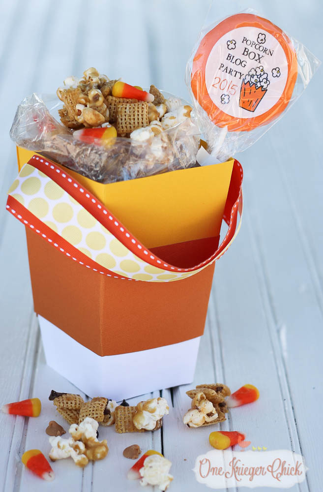 Caramel Popcorn Party Mix in a Candy Corn Popcorn Box...So cute! What a fun treat for a friend, teacher, neighbor or a movie night at home-5-OneKriegerChick