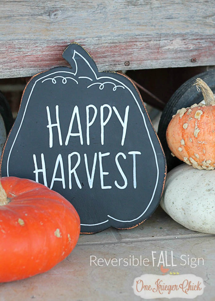 Happy Harvest Reversible Fall Sign- perfect to use all season! OneKriegerChick.com