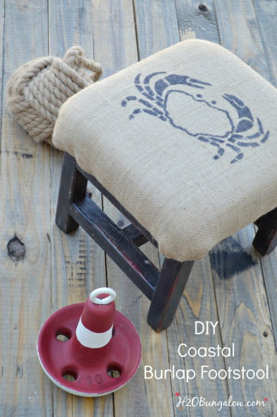 DIY-Coastal-Burlap-With-Crab-Footstool-H2OBungalow