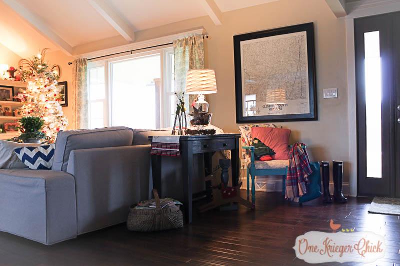 Living Room with a Christmas glow- OneKriegerChick.com