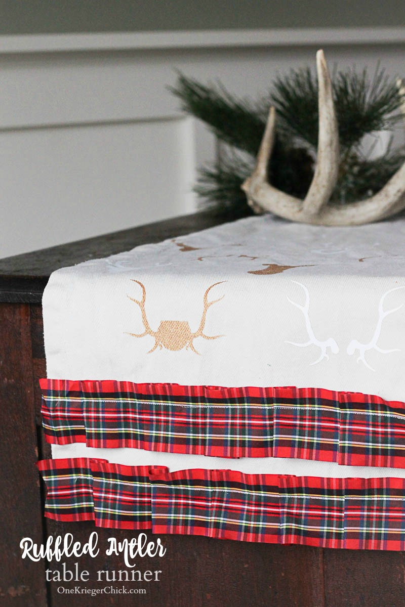 Ruffled Plaid and Antler Table Runner-Make it today for your holiday decor! OneKriegerChick.com