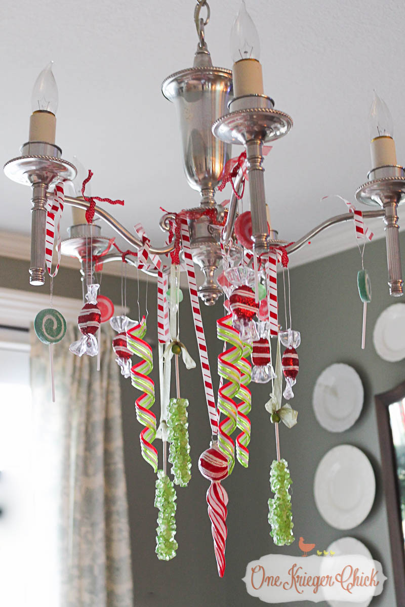 Candy coated Dining Romm Chandelier 2015-OneKriegerChick Home Tour