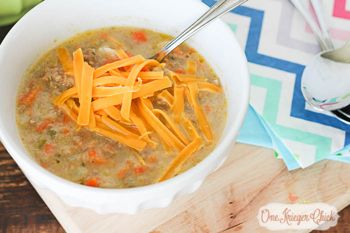 Cheesy Burger Soup- A crowd pleaser! Perfect for gameday... or anyday at our house! My most requested recipe! 5 OneKriegerChick.com