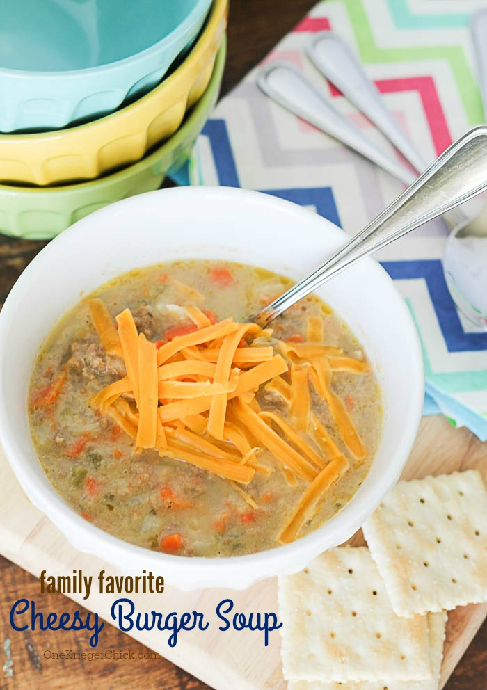 Delicious Cheesy Burger Soup- A crowd pleaser! Perfect for gameday... or anyday at our house! My most requested recipe! OneKriegerChick.com