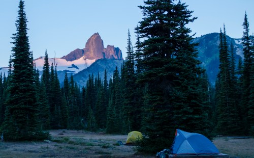 Black Tusk at dawn from Helm Creek campsite