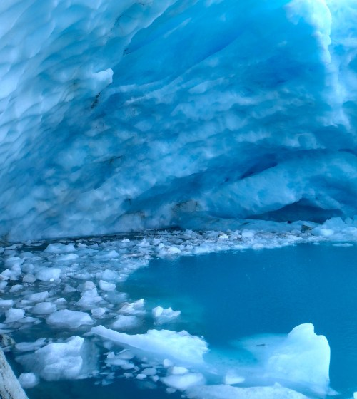 Glacier meeting the lake