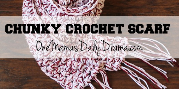Chunky crochet scarf + Valentine's Day link party