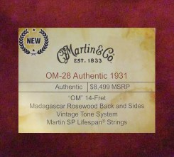 OM-28 Authentic 1931 NAMM show label