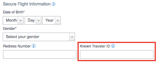 Look up known traveler number