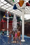 "Kids enjoying water ""dump buckets"" at Mansfield area indoor water park"