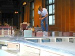 A worker repairing track shows how tiny this model of Cincinnati is