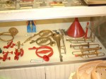 Some of the historic Kazoos in a display case