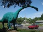 20-foot tall brontosaurus at Prehistoric Forest in Marblehead
