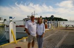Scott and Susan Market in front of former tugboat
