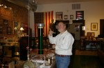 Ernie Scarano points to a hand-made Tesla Coil