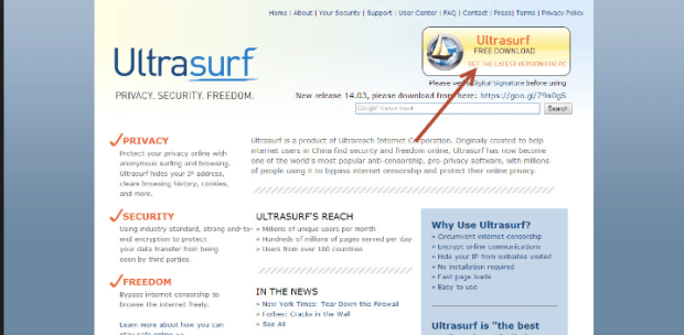 UltraSurf-How to Unlock Facebook at Work or College