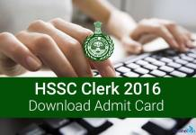 HSSC Clerk Admit Card Call Letter 2016