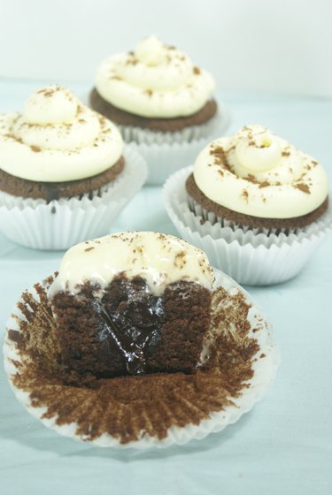 Hot Chocolate #Cupcakes with #Marshmallow Frosting filled with #Chocolate Ganache. Incredible! Visit OnlyTasteMatters.com for the full #recipe. #dessert #baking #glutenfree