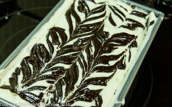 Making No-churn Bourbon Vanilla Fudge Swirl Ice Cream with Toffee Bits
