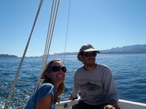 bri and rob sailing in Baja